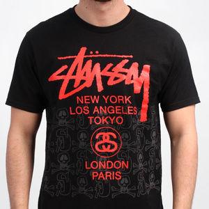 Stussy Shirts - Stussy World Tee black w/ Red - supreme streetwear